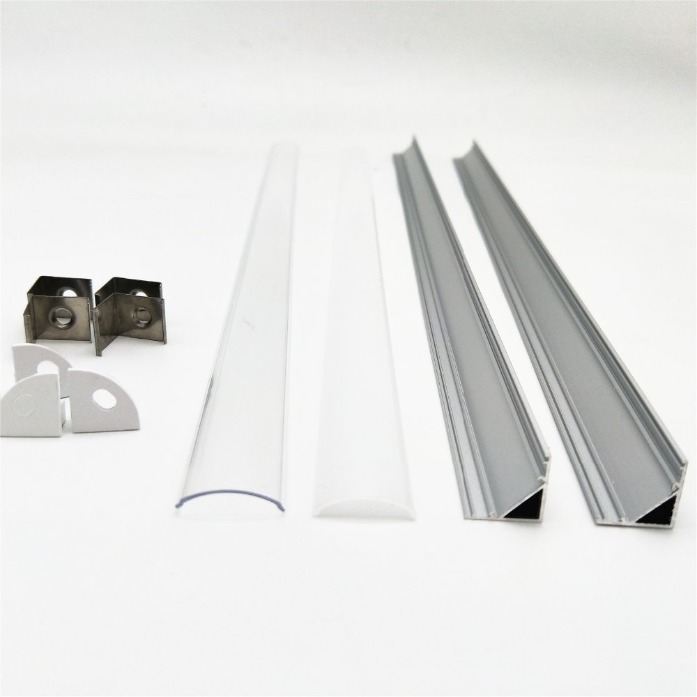 1-10pcs 50cm Led Bar Light Housing V Shape Triangle Aluminum Profile Mikly/clear Cover Connector Clip Channel For 10mm PCB Strip