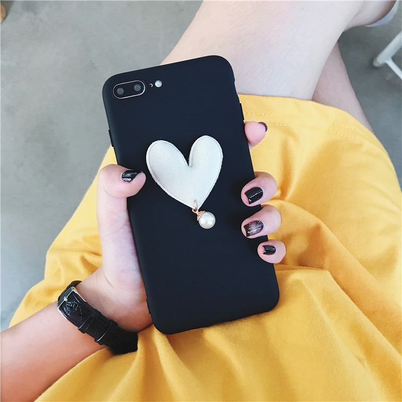 3D Luxury Case For OPPO R9 Plus Case Cute Love Heart Pearl Coque For OPPO R9S Plus Case Soft Silicone Slim Cover