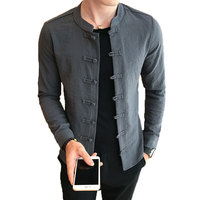 Loldeal 2018 Chinese Style Tang Costumes Shirt Mandarin Collar Slim Fit Casual Kung Fu Tai Chi Shirt Black Long Sleeve Shirt Men