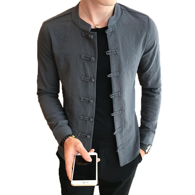 Loldeal  Chinese Collar Shirt Mandarin Collar Slim Fit Casual Kung Fu Tai Chi Shirt Black Long Sleeve Shirt Men