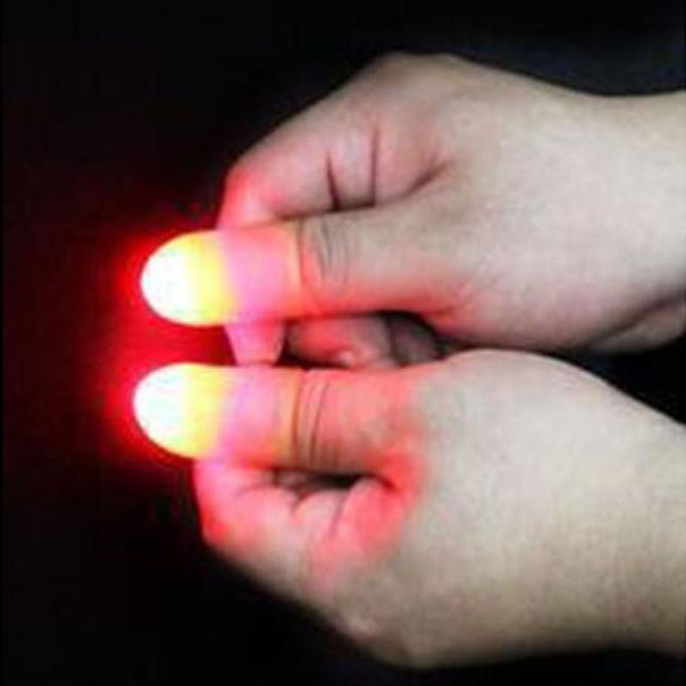 Hot Sale 2Pcs Magic Super Bright LED Light Up Thumbs Fingers Trick Appearing Light Close Up Light-Up Toys