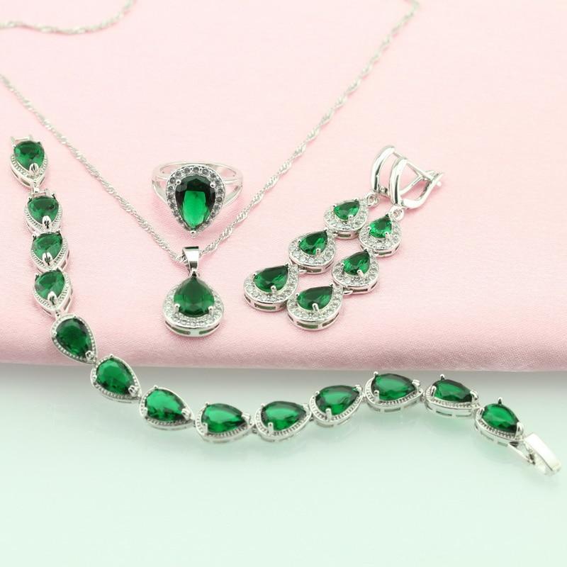 WPAITKYS Water Drop Trendy Green Cubic Zirconia Silver Color Jewelry Sets For Women Earrings Bracelet Necklace Ring Free Box