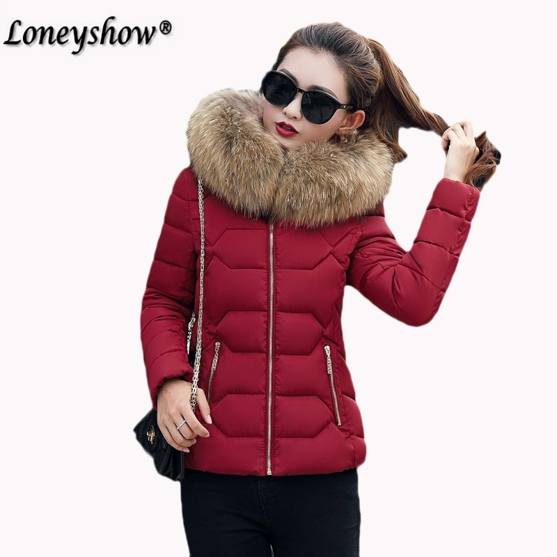 New Winter Jacket Warm Fur Collar Down Wadded Coat 2017 Slim Fit Solid Cotton-padded Jackets Thick Women Short Coat neploe new winter jacket warm fur collar down wadded coat 2017 slim fit solid cotton padded jackets thick women short coat