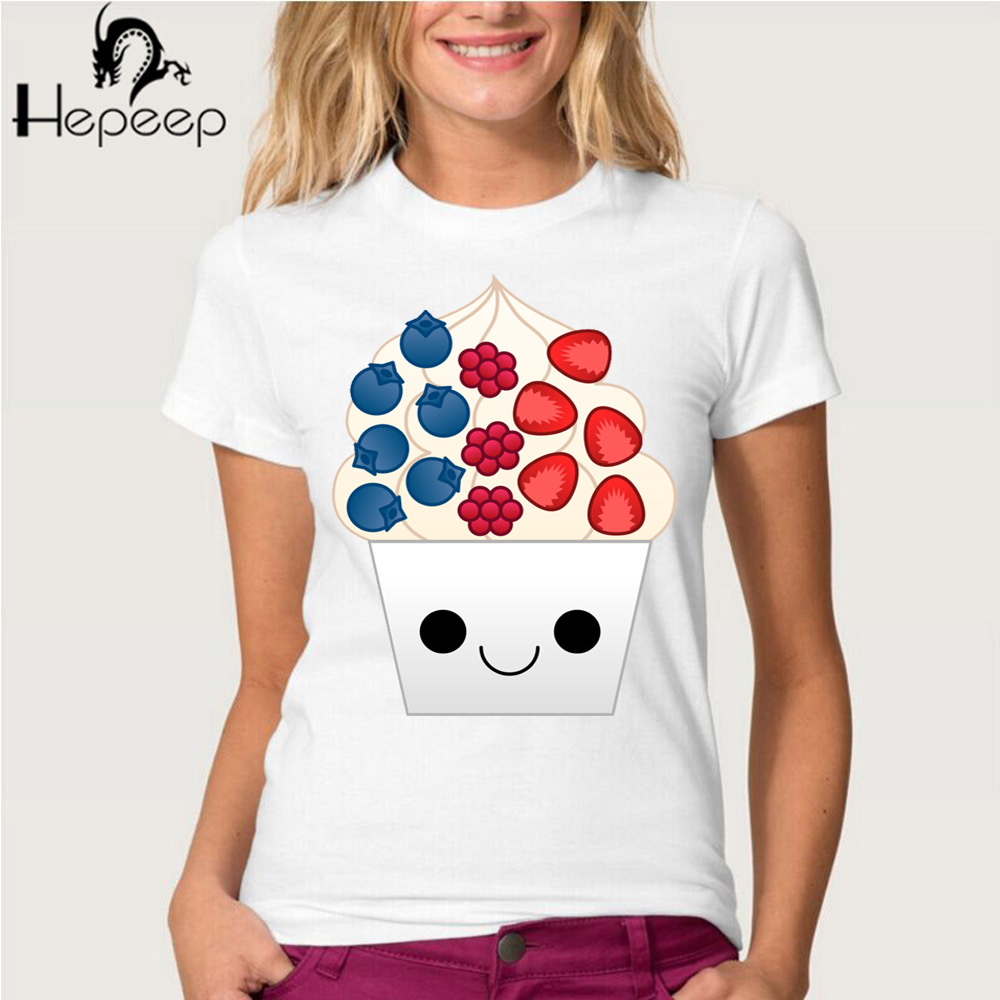 Design t shirt brand - Hepeep Brand Women S Short Sleeve Berry Frozen Yogurt Cute Design T Shirt Fashion Pretty Girl Tops Cool Hipster Tee Shirt