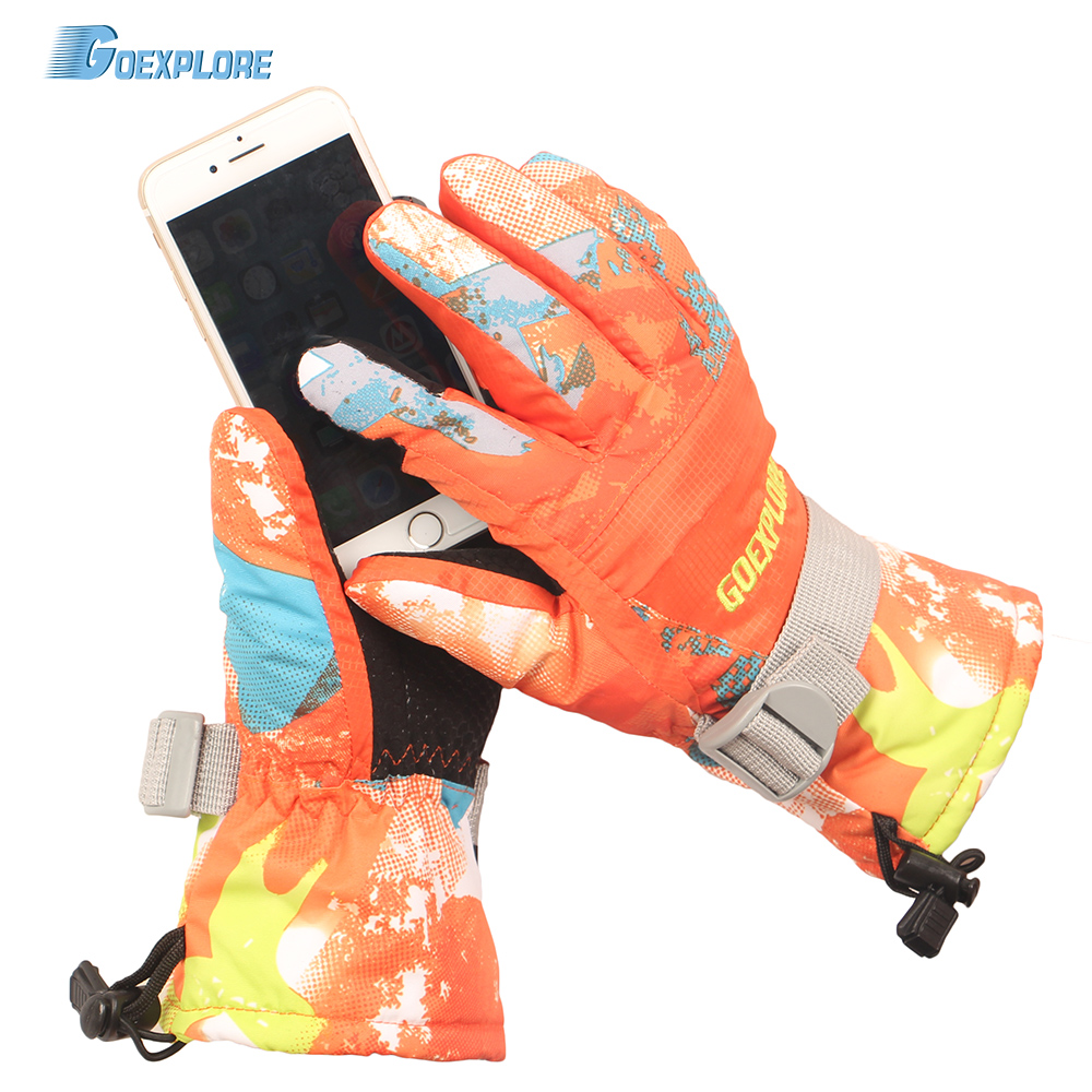 Goexplore Ski Gloves Men Women -30 Thicken Waterproof Outdoor Motorcycle Snowboard Snowmobile Snow Mittens Winter Girls Male