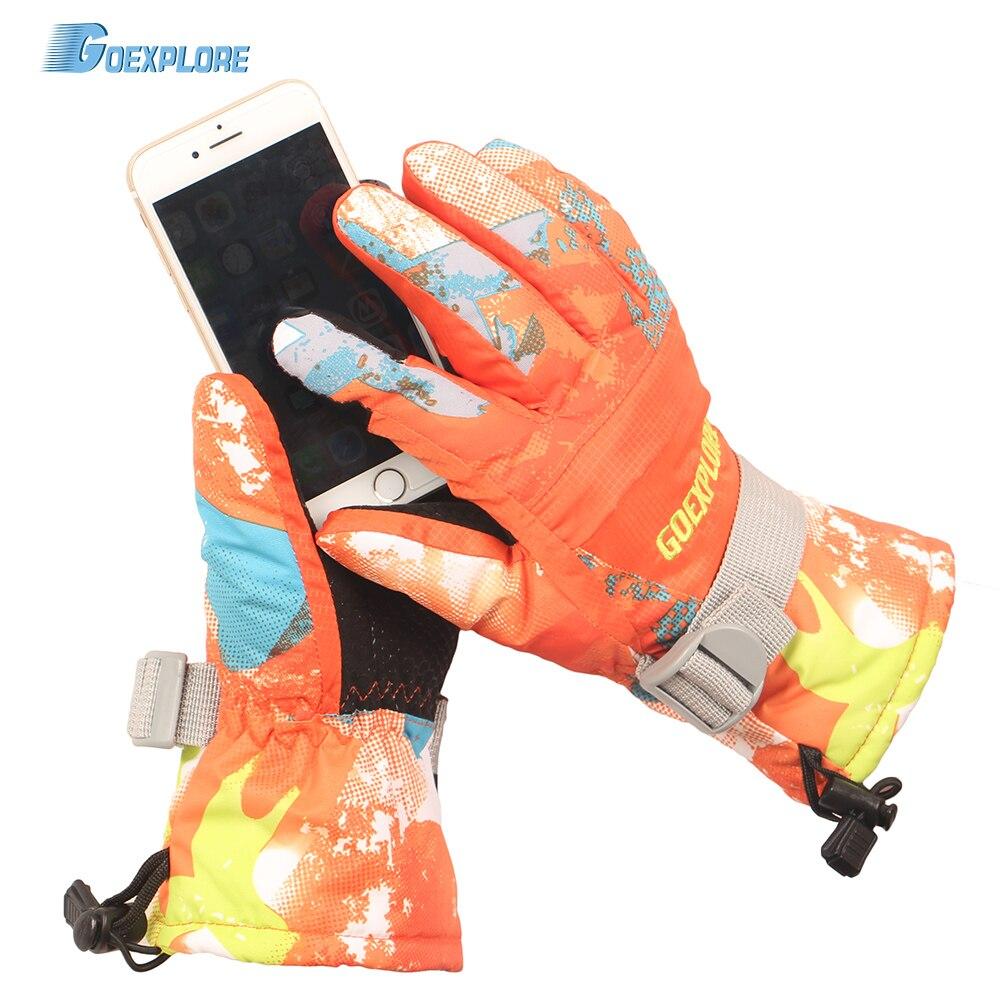 Goexplore guantes de esquí de las mujeres de los hombres-30 espesar impermeable al aire libre de Snowboard de nieve mitones de invierno niñas hombre