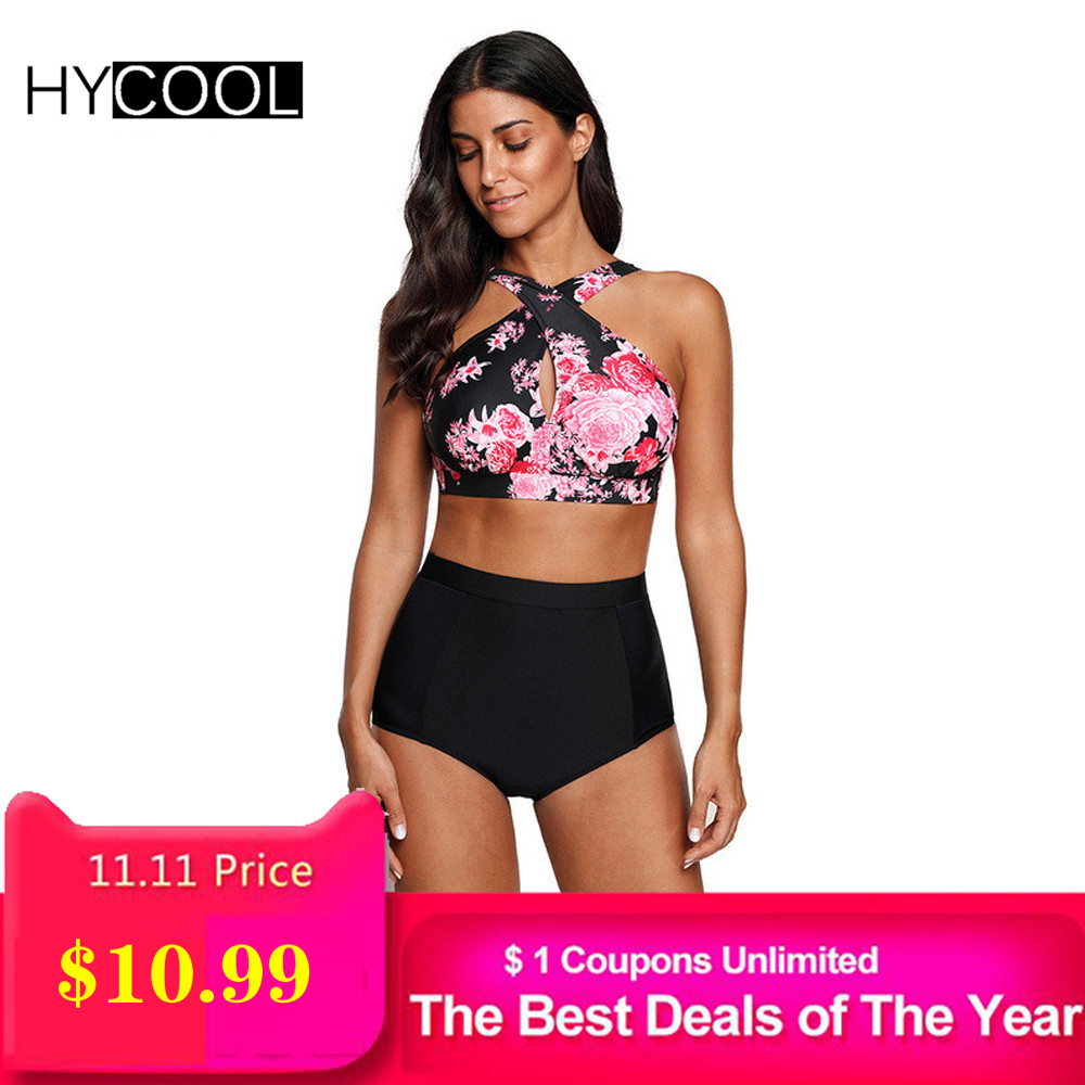 HYCOOL Swimwear Women Female Swimsuit Bikinis High Waist Bathing Suits Print Retro Floral Bikini Set Swim Wear Plus Size XXL andzhelika plus size swimwear bikinis women deep v bikini new vintage print dot bikini set beach bathing suit swim wear female