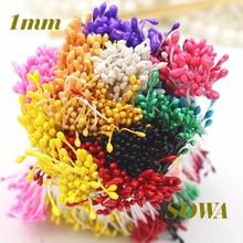 1 мм цветочные тычинки 900 шт./лот случайный смешанный двойные насадки DIY искусственные мини-жемчужина цветок тычинки для Свадебные украшения DIY