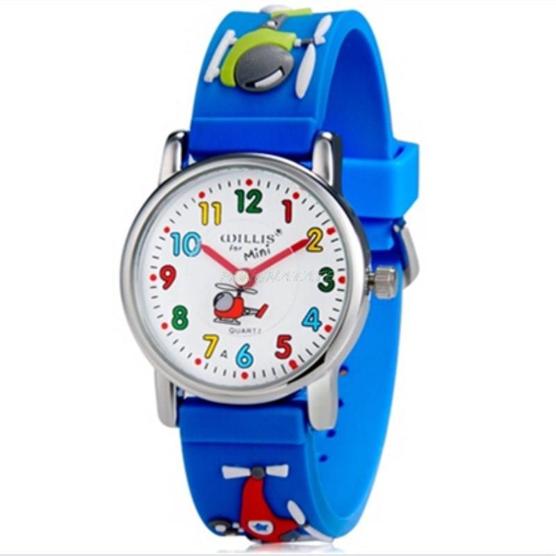 WILLIS Children Luxury Brand Watches Quartz Watch Analog 3D Elicopter Rubber Clock Children Sports Waterproof Watches PENGNATATE