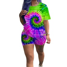 Summer Print 2 Piece Set Women Tie Dye T Shirt And Biker Shorts Tracksuit Festival Clothing Matching Sets