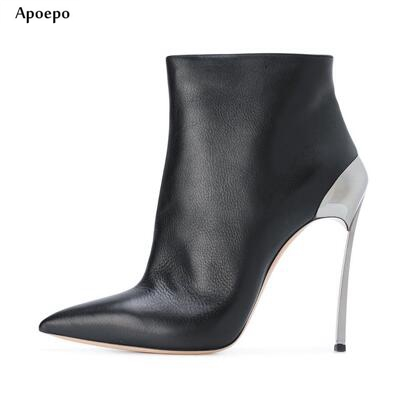 New Pointed Toe High Heel Boots 2018 Woman Thin Heels Ankle Boots Silver Leather Motorcycle Leather Boots Riding Boots цена