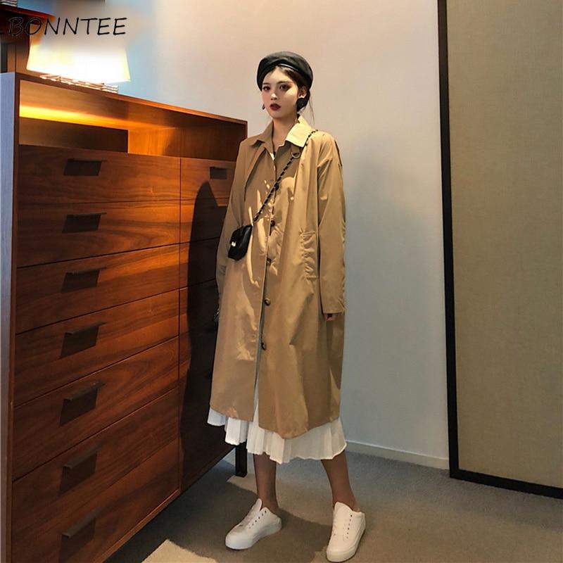 Trench Women Solid Single Breasted Long Turn-down Collar Pockets Womens Windbreaker Korean Style Elegant Trendy Leisure Simple