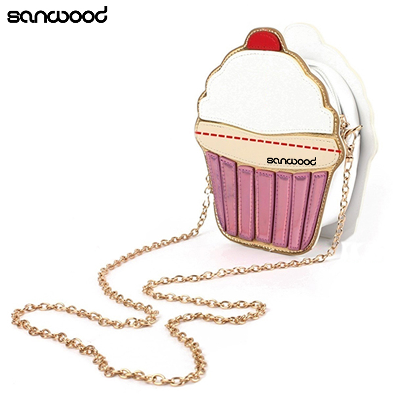 Newest Women Faux Leather Shoulder Bag Mini Ice Cream Cupcake Chain Crossbody Bag new cute cartoon women ice cream cupcake mini bags pu leather small chain clutch crossbody girl shoulder messenger evening bag