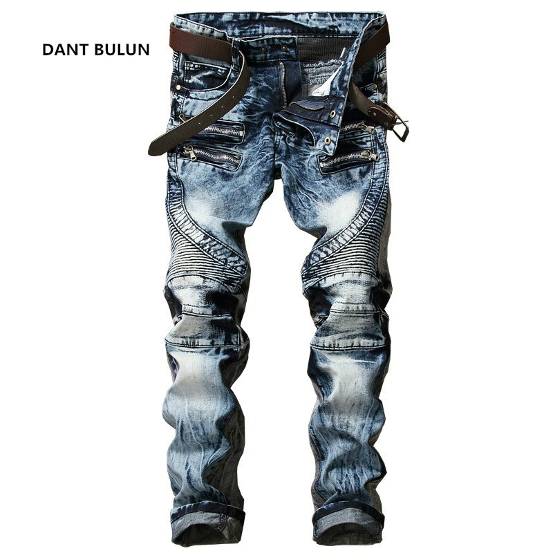 New Fashion Mens Biker Jeans Pants Slim Fit Pleated Motocycle Denim Trousers Brand Designer Multi Zippers Straight Moto Pants