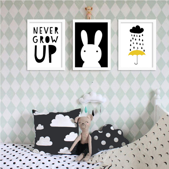 Never Grow Up Cartoon Canvas Paintings Nursery Posters And Prints Nordic Wall Art Pictures For Kids Bedroom Home Decor No Frame