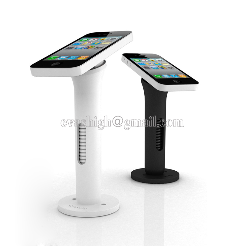 Mobile phone security stand cell phone display holder white and black anti-theft for retail shop with hiden retractable wirre  цена