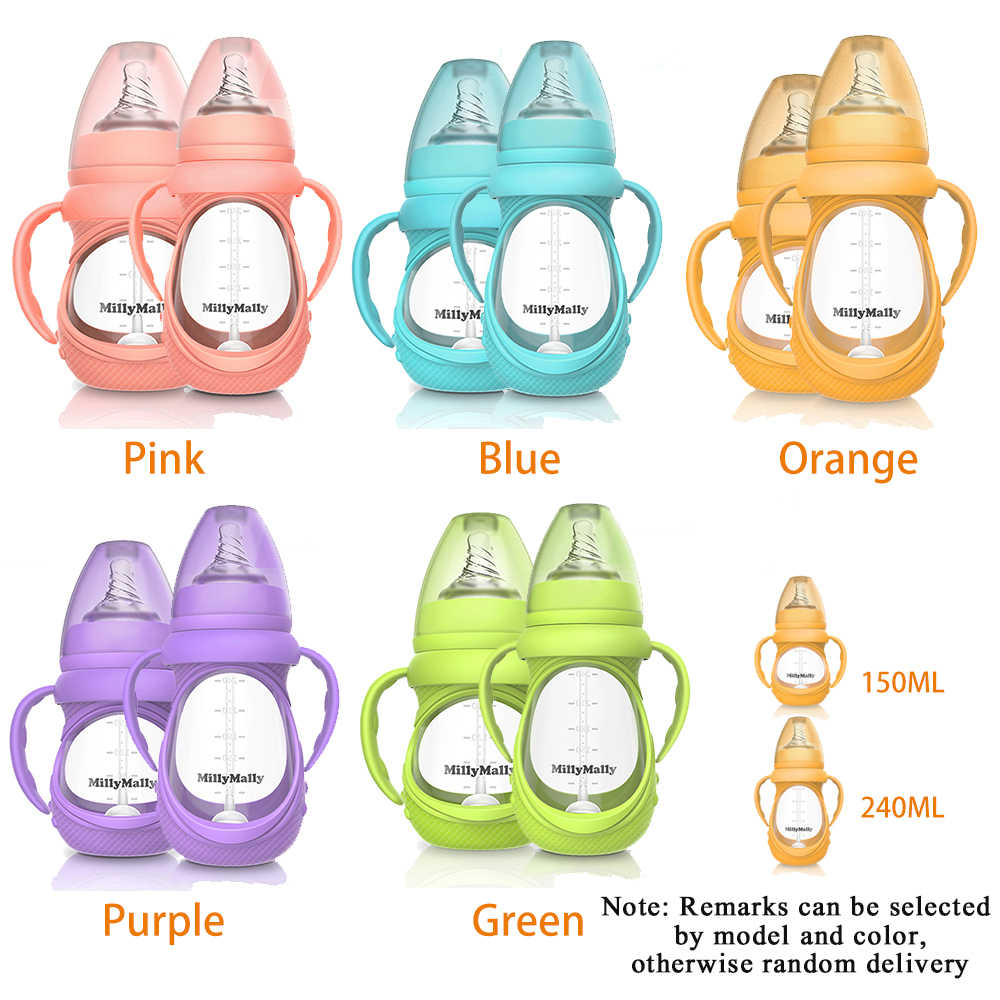 Baby Glass Bottle Anti Colic Wide Neck With Detachable Handle Feeding Bottle For Newborn Infant Toddler BPA Optional model color