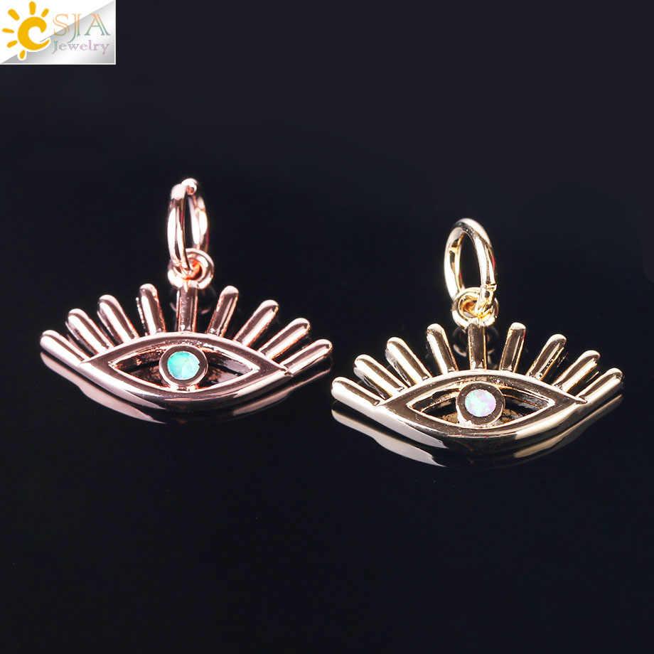 CSJA nouveau Design bleu Rose opale pendentif pour Collier diable oeil Rose or couleur Micro Pave Choker femmes Femme Collier bijoux F486