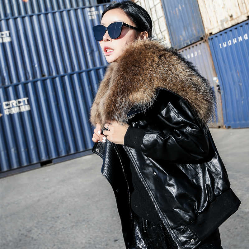 Autumn Winter Jacket Women Clothes 2019 Korean Sheepskin Coat Vintage Raccoon Dog Real Fur Coat Genuine Leather Jacket ZT1555
