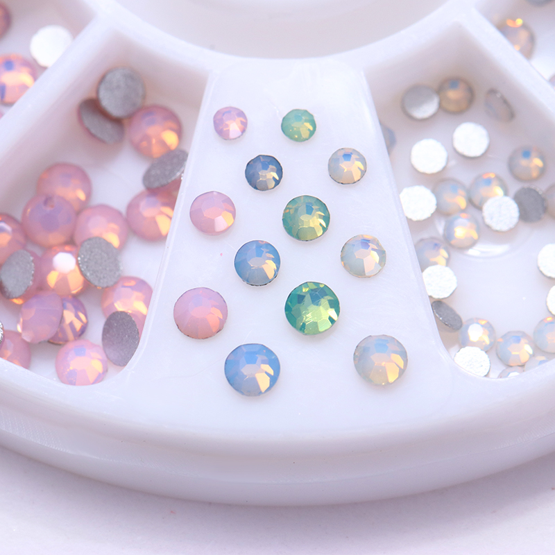 Opal Nail Rhinestones Flat Bottom 3D Nail Decorations Multi-size Colorful 3D Decoration in Wheel DIY Nail Art UV Gel Polish
