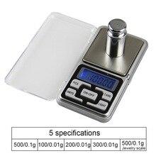 Urijk Mini balanza Digital 0,01/0,1g de alta precisión 100/200/300/500g bolsillo eléctrico de retroiluminación para joyería gramo peso para Cocina