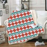 3d Pattern Indian Geometric Elements Warm Sherpa Blanket Mandala Funny Gift Blanket Home Decor Bedroom Travel Blankets