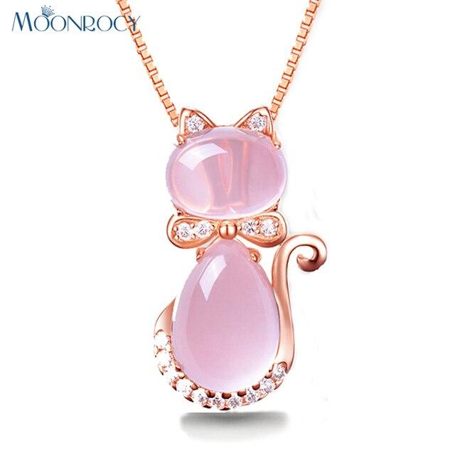 6c323b94cc1e MOONROCY Rosa Color oro lindo gato Ross cuarzo rosa ópalo joyería Collar  para mujeres niñas niños