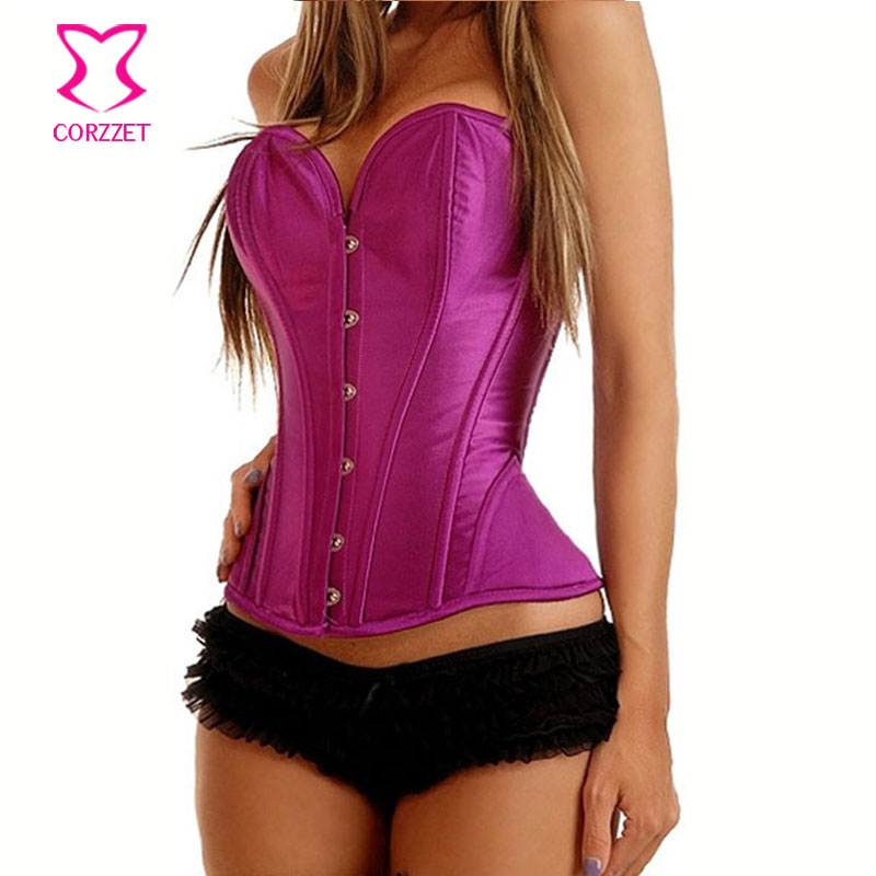 Corzzet Vintage Purple Satin Steampunk Spiral Steel Boned Overbust Corsets And Bustiers Waist Trainer Lingerie Wedding Corset