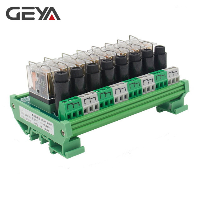GEYA NGG2R 8 Channel Omron Relay Module for PLC Controller SPDT PLC Relay 12VDC 24VDC with Fuse Protection 8A free shipping geya ng2r 4 channel relay module 1no 1nc relay spdt module 12v 24v ac dc omron relay plc