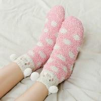 6 pairs female autumn and winter fleece cartoon cute animal sock thick casual women floor socks