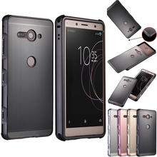 For Sony Xperia XZ2 Compact H8324 Case Brushed Back Cover with Plating Metal Frame Case for Sony Xperia XZ2 Compact XZ2C Cover сотовый телефон sony xperia xz2 compact silver