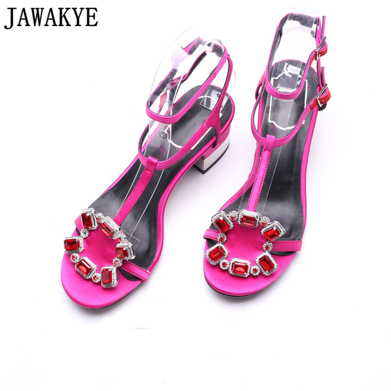 Summer sexy sandals women rose black satin middle heels crystal rhinestone diamond buckles embellished 2018 dress