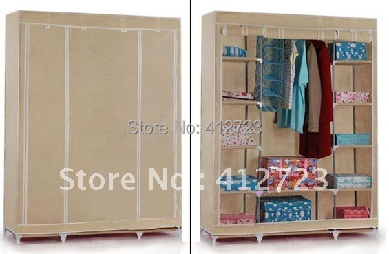 high quality super double foldable wardrobe rice color nonwoven cloth wardrobe clothes storage cabinet extra large storage box