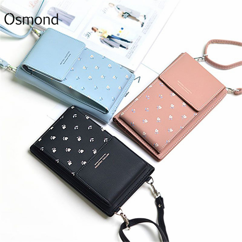 2a79bcdcbb Osmond Mini Shoulder Bags For Women Phone Wallet Pink Black Long Purse Card  Holder Wallet Printing Flower Handbag Young Girl Bag