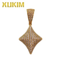 Xukim Jewelry Cubic Zirconia Iced Out Hip Hop Silver Gold Poker Dianmond Pendant Necklace