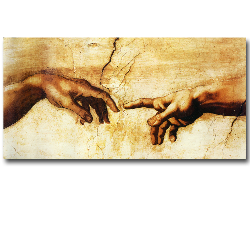 Creation of Adam! Hand of god! Religion wall painting ...