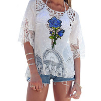 Beach Cover Up Bikini Crochet Summer Beach Tunic Swimsuit Bikini Woman Flower White Hollow Pareo Beach