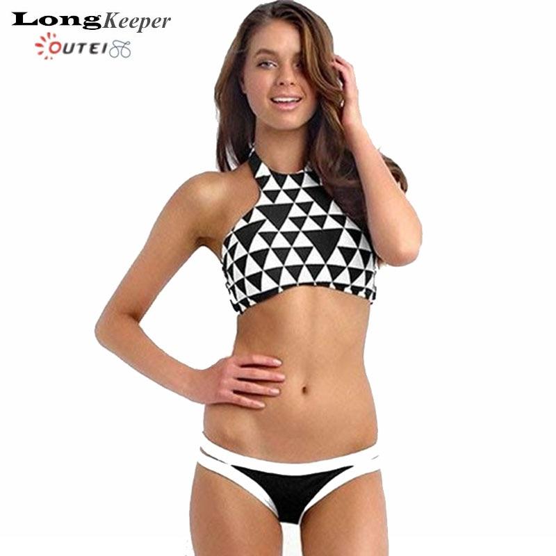 Mujeres Sexy Bikini 2017 Nuevo Traje de Baño Verano Costa Maya Cuello Alto Mujer Beach Wear