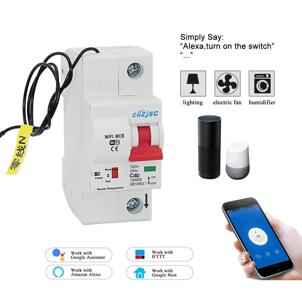 1 P 40A WiFi disjoncteur intelligent automatique protection contre les surcharges et les courts-circuits pour Amazon Alexa et Google home1 P 40A WiFi disjoncteur intelligent automatique protection contre les surcharges et les courts-circuits pour Amazon Alexa et Google home