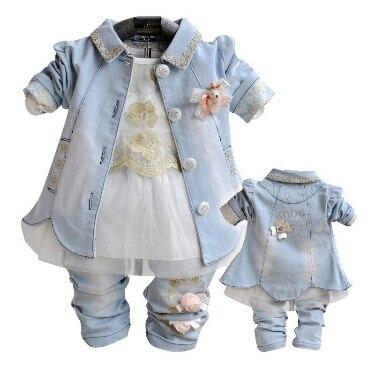 Anlencool 2019 nouveau Roupas Meninos livraison gratuite bébé filles robe costume haute qualité printemps trois pièces ensemble vêtements fille vêtements