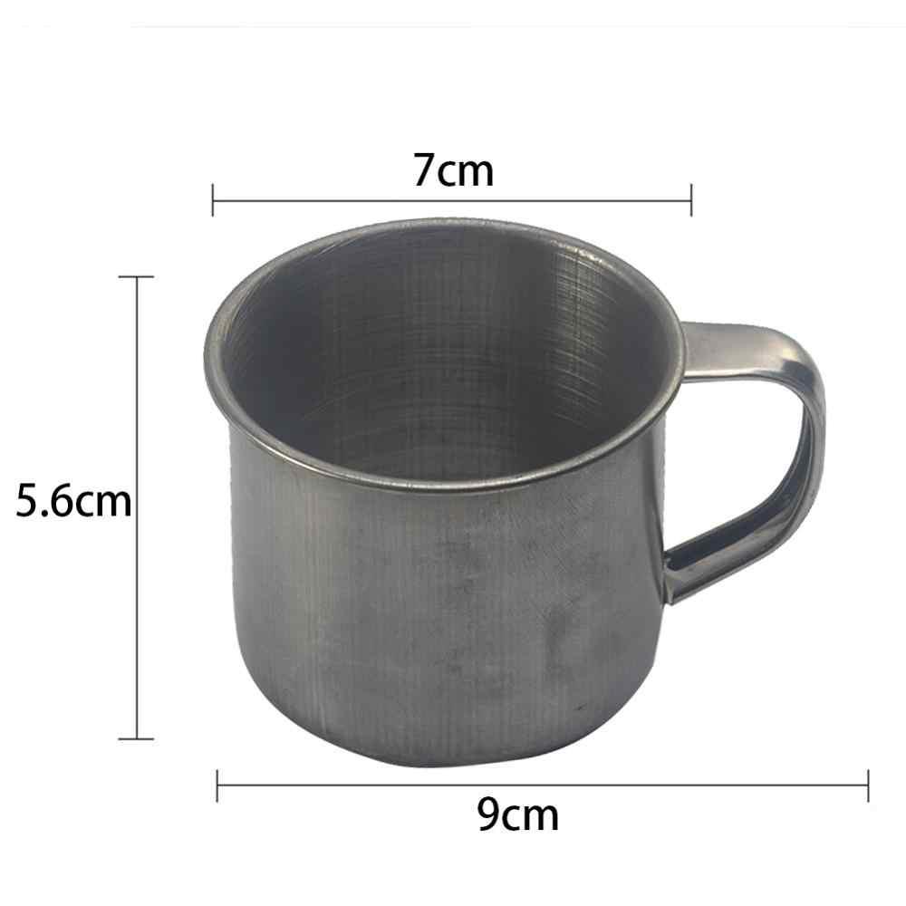 1 шт. Новый 100 мл Нержавеющаясталь компактная кружка Серебряная чашка стены походный Стакан Кружка для кофе, молока офисная чайная чашка