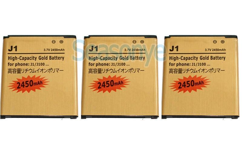 3pcs/lot 2450mAh EB-BJ100BBE 3.7VDC Gold Replacement Li-ion Battery For Samsung Galaxy J1 J100 + Tracking Code