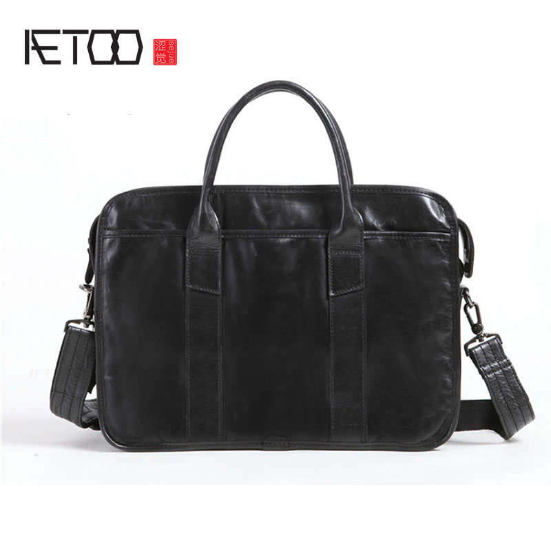 AETOO New oil wax cowhide handy oblique bag men bag briefcase first layer cowhide business computer