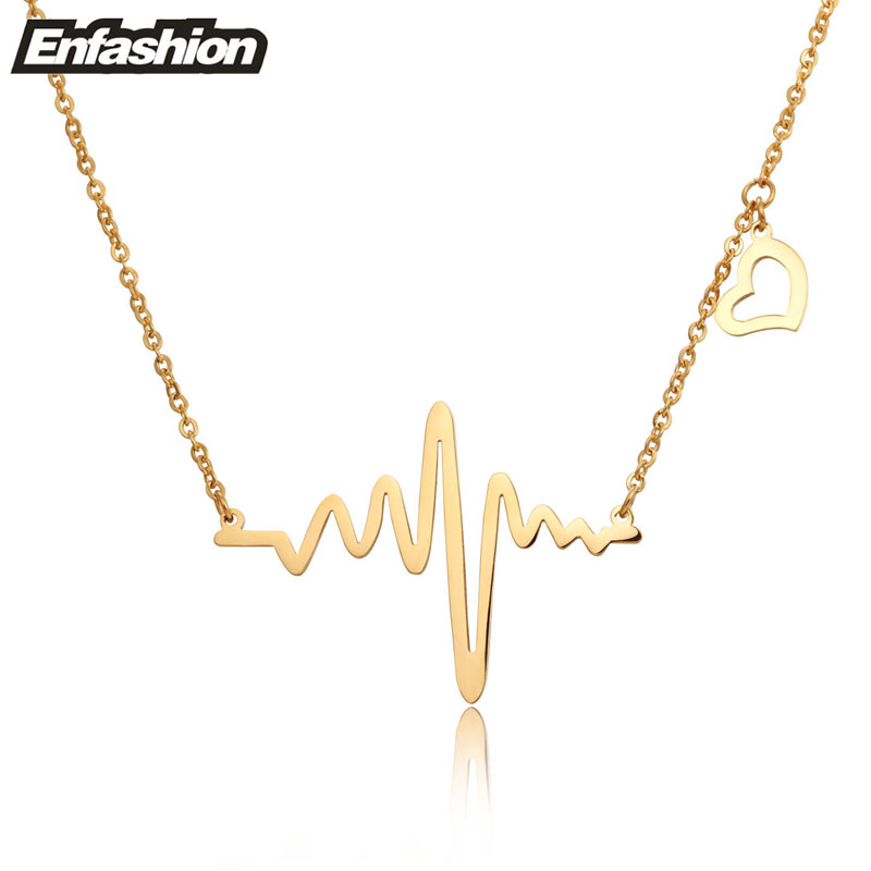 Fashion heartbeat necklace women pendant necklace rose gold color ...
