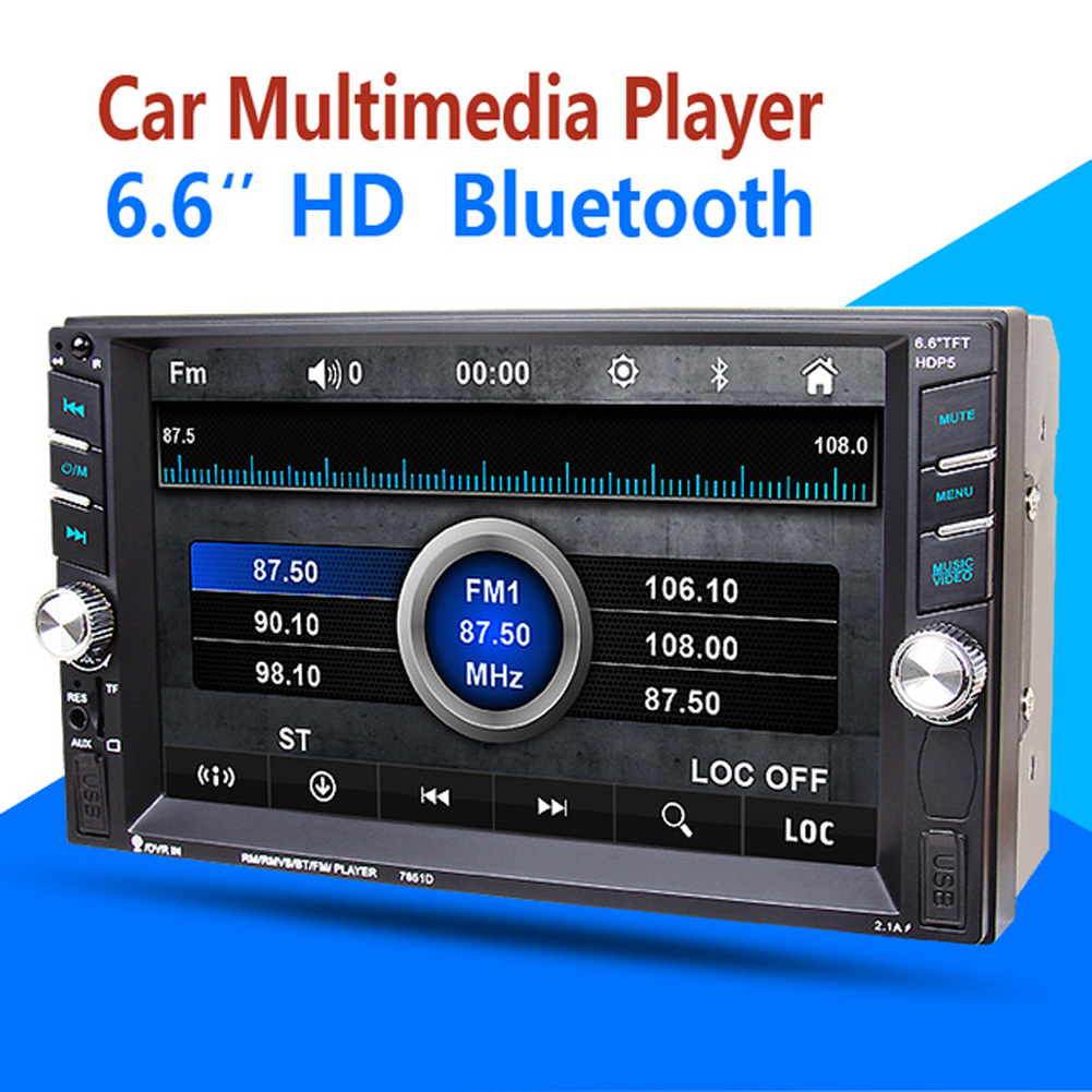 6.5 HD 2Din In Dash Car Multimedia Player Auto Touch Screen Bluetooth Stereo Radio FM MP3 MP5 Audio Video USB+Reversing Display