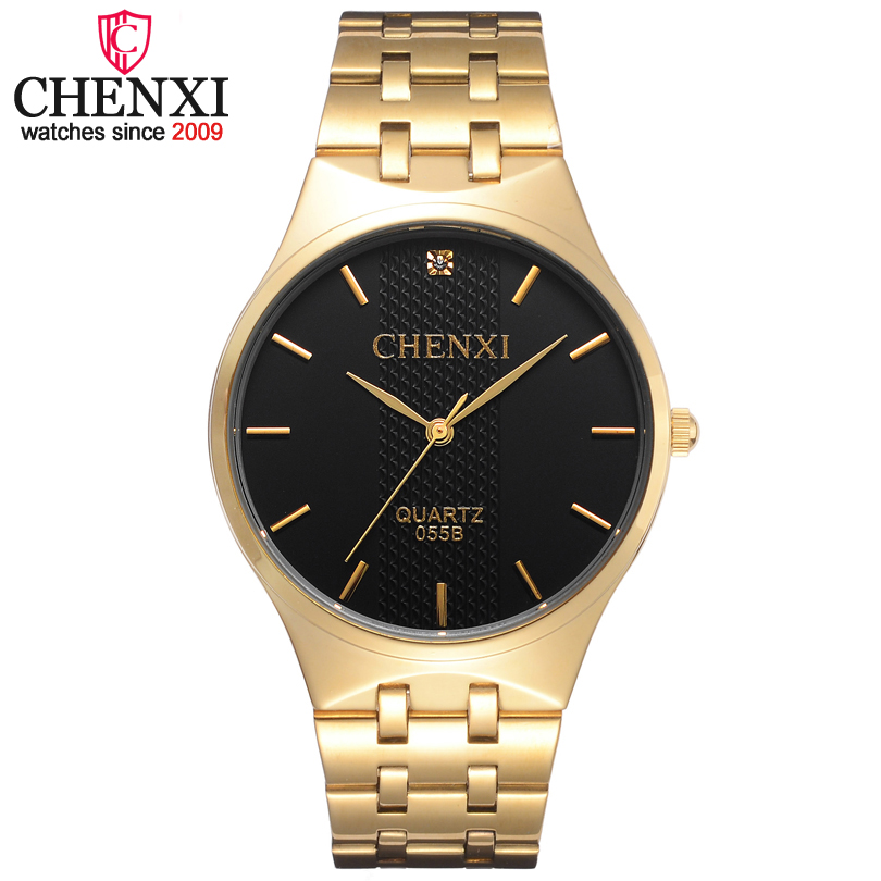 CHENXI Brand Luxury Simple Casual Luxuriou Fashion Classic Business Golden Men Quartz Watches Full Steel Wristwatch Male Relogio rosra brand men luxury dress gold dial full steel band business watches new fashion male casual wristwatch free shipping