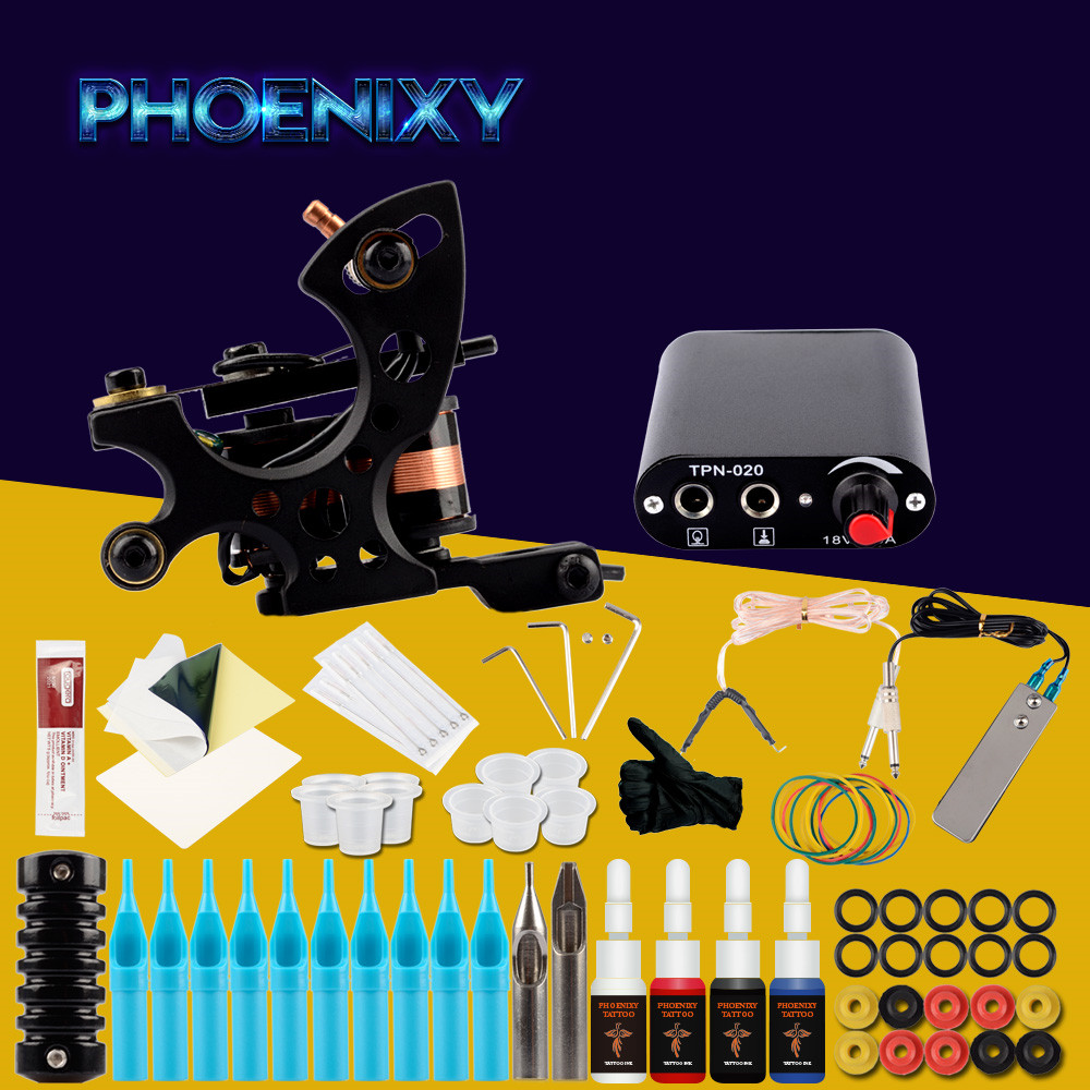 Complete Tattoo Kits 8 Wrap Coils Guns Machine 4 Color Ink Sets Mini Power Supply Disposable Needle Kit Tattoo Complete Machine купить в Москве 2019