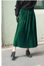 european and american new 2017 High fashion Pleated Skirts high waist Women sexy Autumn winter long skirts da007