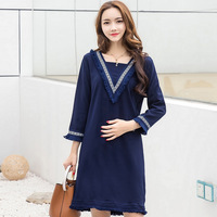 Vintage Style Navy Blue Tassel Maternity Blouses 2017 Spring Autumn V Neck Long Clothes for Pregnant Women Loose Pregnancy Top