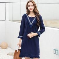 Vintage Style Navy Blue Tassel Maternity Blouses 2017 Spring Autumn V Neck Long Clothes For Pregnant